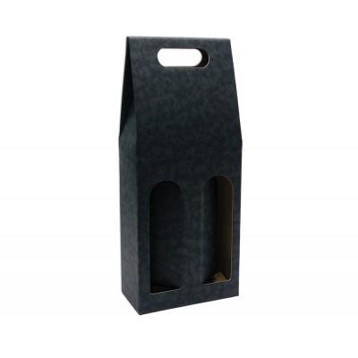 Krabica na 2 fľaše Čierna