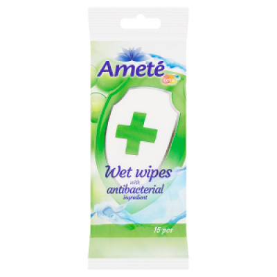 Vlhčené antibakteriálne utierky na ruky a telo do kabelky 15 ks