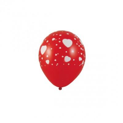 Balóniky L Červené s bielymi srdiečkami / bal. 5 ks