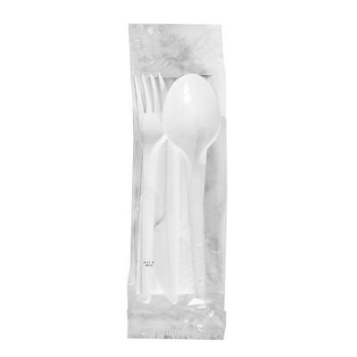 Balený príbor (nôž + vidlička + lyžica 16,5 cm + obrúsok 33x33 cm) hygienicky balená / bal. 100 ks