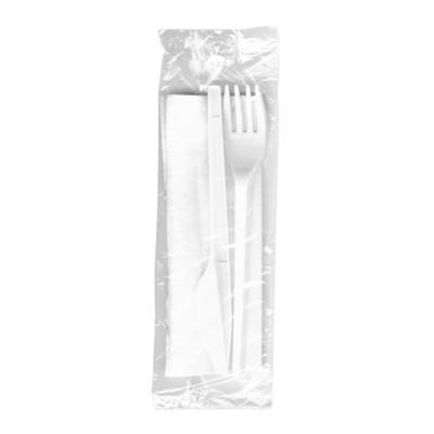 Balený príbor (nôž + vidlička 16,5 cm + obrúsok 33x33 cm) hygienicky balená