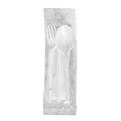 Balený príbor (nôž + vidlička + lyžica 16,5 cm + obrúsok 33x33 cm) hygienicky balená / bal. 250 ks
