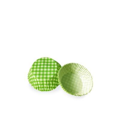 Košíček na zákusky pr. 50x30 mm Karo zelené / bal. 40 ks