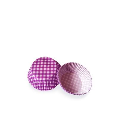 Košíček na zákusky pr. 50x30 mm Karo fialové / bal. 40 ks