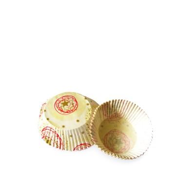 Košíček na zákusky pr. 50x30 mm Béžové so zlatými hviezdičkami / bal. 40 ks