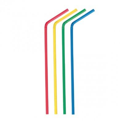 Slamky ohybné 24 cm, pr. 5 mm Farebný mix / bal. 250 ks