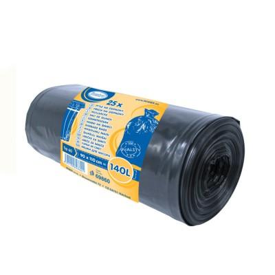 Vrece LDPE 90x110 cm, TYP 60, 140 L, Čierne / rolka 25 ks