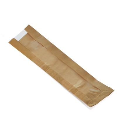 Vrecko papierové s oknom 12+5x59 cm Hnedé / bal. 100 ks