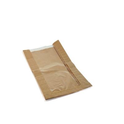 Vrecko papierové s oknom 15+6x29 cm, okno 10 cm Hnedé / bal. 100 ks