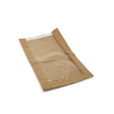 Vrecko papierové s oknom 18+6x32 cm Hnedé / bal. 100 ks