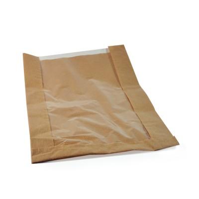 Vrecko papierové s oknom 26+7x40 cm Hnedé / bal. 100 ks
