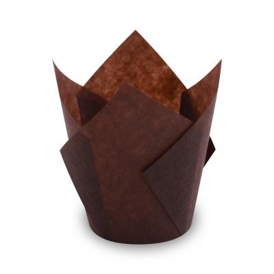 Košíček na muffiny TULIP pr. 50x85 mm Hnedý / bal. 100 ks