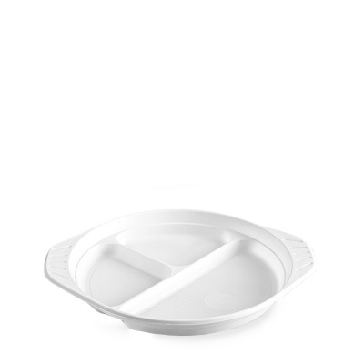 Tanier PP pr. 22 cm delený 1/3, do mikrovlnnej rúry Biely / bal. 100 ks