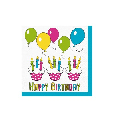 Obrúsky 33x33 cm 3-vrstvové Happy Birthday / bal. 20 ks